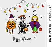 three kids in halloween...   Shutterstock .eps vector #495697717