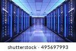 server racks in server room... | Shutterstock . vector #495697993