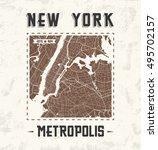 new york vintage t shirt...   Shutterstock .eps vector #495702157