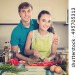 young positive couple preparing ...   Shutterstock . vector #495705313