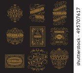 set of antique labels  vintage... | Shutterstock .eps vector #495707617