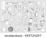 food doodles | Shutterstock .eps vector #495724297