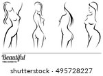 set stylized beautiful women... | Shutterstock .eps vector #495728227