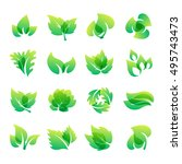 green leaf eco design element... | Shutterstock .eps vector #495743473
