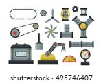 parts of machinery flat icons... | Shutterstock .eps vector #495746407