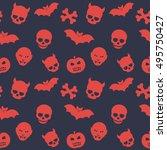 halloween pattern  seamless... | Shutterstock .eps vector #495750427