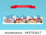 winter town. flat style vector... | Shutterstock .eps vector #495752617