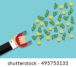 hand in a suit holding a magnet ... | Shutterstock .eps vector #495753133