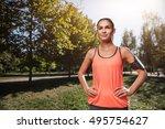 smiling girl preparing for...   Shutterstock . vector #495754627