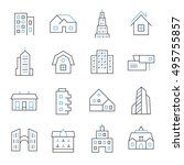 architecture thin line icons   Shutterstock .eps vector #495755857