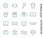 cinema thin line icons | Shutterstock .eps vector #495755863