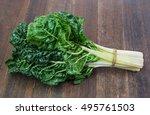 fresh green silverbeet leaves... | Shutterstock . vector #495761503