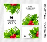 christmas background with holly ...   Shutterstock .eps vector #495763483