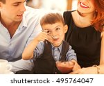 family with son having fun in a ... | Shutterstock . vector #495764047