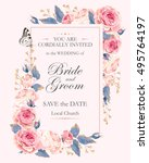 Vintage wedding invitation | Shutterstock vector #495764197