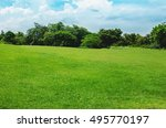 green beautiful park and blue... | Shutterstock . vector #495770197