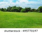 green park and blue sky.  green ... | Shutterstock . vector #495770197