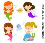 four cute cartoon mermaids... | Shutterstock . vector #495784153