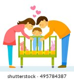 mother and father kissing their ... | Shutterstock . vector #495784387