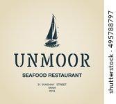 vintage modern seafood... | Shutterstock .eps vector #495788797