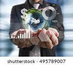 businessman with financial... | Shutterstock . vector #495789007