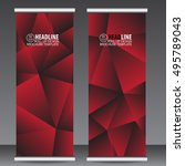 abstract red roll up banner... | Shutterstock .eps vector #495789043
