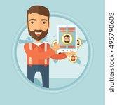 happy caucasian hipster... | Shutterstock .eps vector #495790603