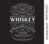 whiskey label vintage hand... | Shutterstock .eps vector #495795127