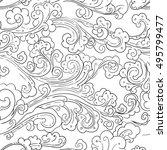 seamless ocean wave and splash  ... | Shutterstock .eps vector #495799477