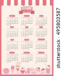 twelve month of 2017 calendar... | Shutterstock .eps vector #495803587