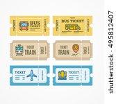 bus  train  airplane tickets... | Shutterstock .eps vector #495812407