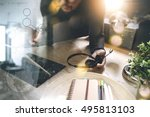 man using voip headset with... | Shutterstock . vector #495813103