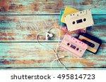 top view  above  shot of retro... | Shutterstock . vector #495814723