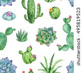 cactus and succulent watercolor ... | Shutterstock . vector #495819523