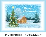winter forest landscape ... | Shutterstock .eps vector #495822277