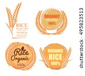 set of rice concept. label... | Shutterstock .eps vector #495823513