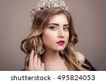 beautiful girl with a tiara on... | Shutterstock . vector #495824053