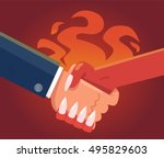 deal with devil. businessman... | Shutterstock .eps vector #495829603