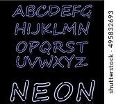 glowing neon bar alphabet. used ... | Shutterstock .eps vector #495832693