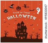vintage halloween poster design ... | Shutterstock .eps vector #495833047