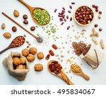 various legumes and different... | Shutterstock . vector #495834067