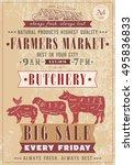 butcher shop vintage poster... | Shutterstock .eps vector #495836833