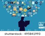 technology business... | Shutterstock .eps vector #495841993