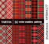 set tartan seamless pattern.... | Shutterstock .eps vector #495844177