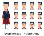 big set of vampire emoticons.... | Shutterstock .eps vector #495850987