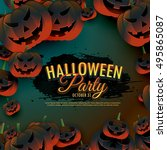 halloween party background with ... | Shutterstock .eps vector #495865087