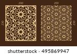laser cutting set. woodcut... | Shutterstock .eps vector #495869947