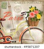 paris vintage poster | Shutterstock .eps vector #495871207