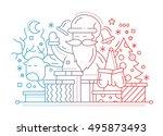 merry christmas plain line flat ... | Shutterstock .eps vector #495873493