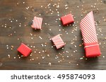 gift boxes wrapped into red... | Shutterstock . vector #495874093